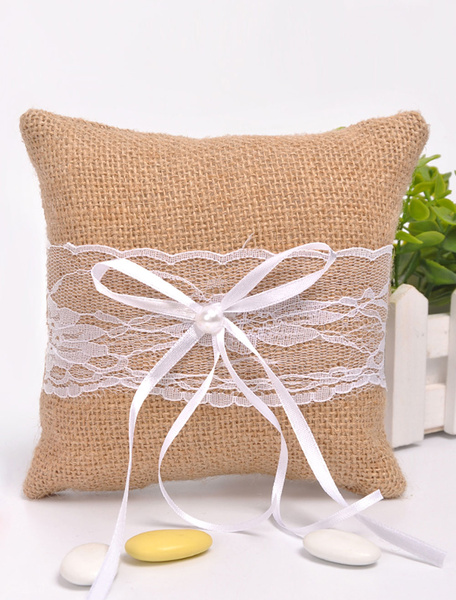Lace Wedding Pillow Ribbon Bow Lace Item For Wedding Ceremony