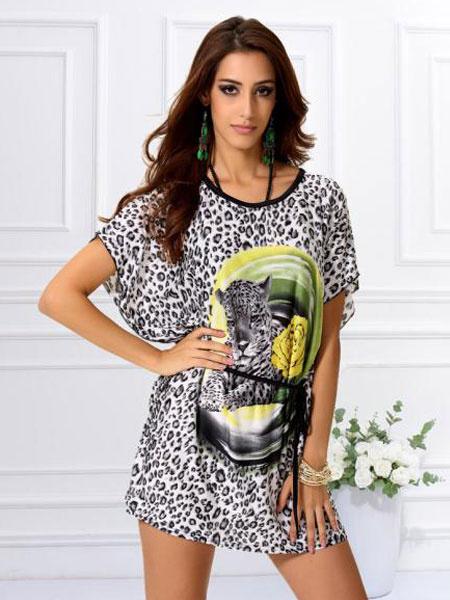 Jewel Neck Animal Print Sash Mini Dress