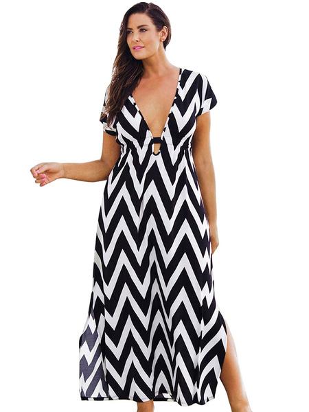 V-neck Zigzag Pattern Maxi Dress фото