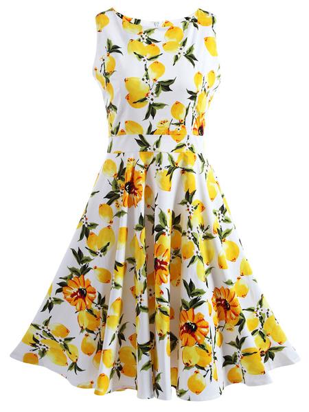 Cute Printed Dress Sleeveless Pleated Day Dress