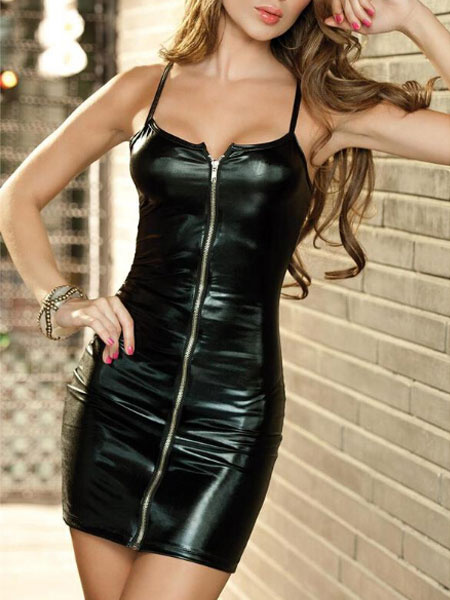 Black Strap Leather Bodycon Dress Front Zip Up Club Wear фото