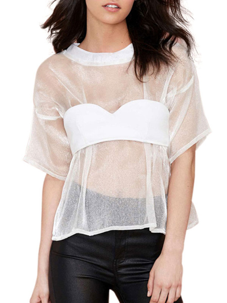 White Sexy Sheer T Shirt Blouse Half Sleeves фото
