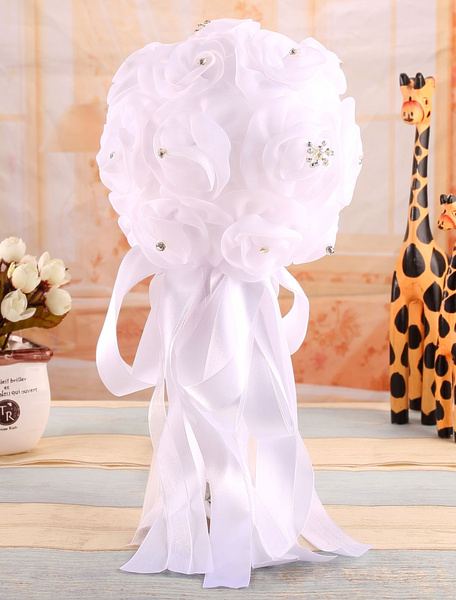 White Wedding Bouquet Bridal Rose Satin Bowknot Flower( 29 Cm X 16 Cm) фото