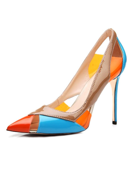 Pointy Toe Heels Color Block High Heels