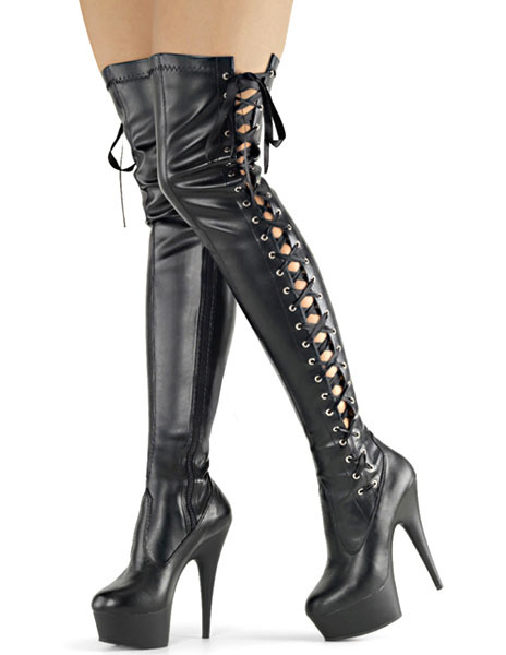 Over Knee Platform Boots High Heel Black Women's Lace-up Cut Out Sexy Shoes Milanoo