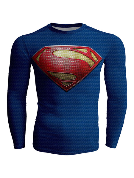 Super Man Logo T Shirt Long Sleeves In Blue фото