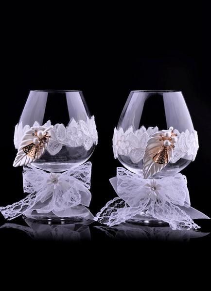 Lace Wedding Flutes Toasting Flutes Set Leaf Studded With Pearl( 9 Cm X 9 Cm X 14 Cm ) фото