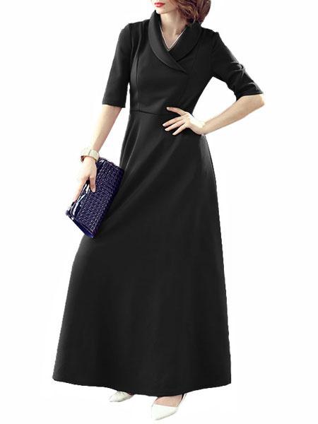 Half Sleeves Maxi Dress With Turndown Collar In Navy/Black/Purple фото