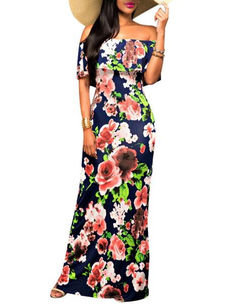 Milanoo / Vestido Maxi estampado Floral azul el vestido de verano largo de hombro