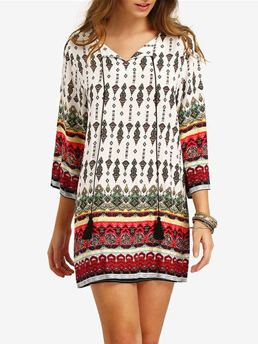 Summer Mini Dress Long Sleeves Half-Sleeve Boho Shift Dress фото