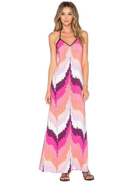 Halter Maxi Dress Pink Printed Summer Slip Dress фото