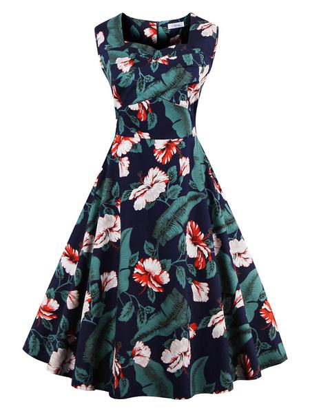 Vintage Dress Sleeveless Floral Print Skater Dress фото