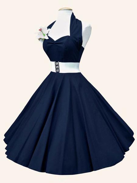 Halter Vintage Dress Deep Blue Party Dress