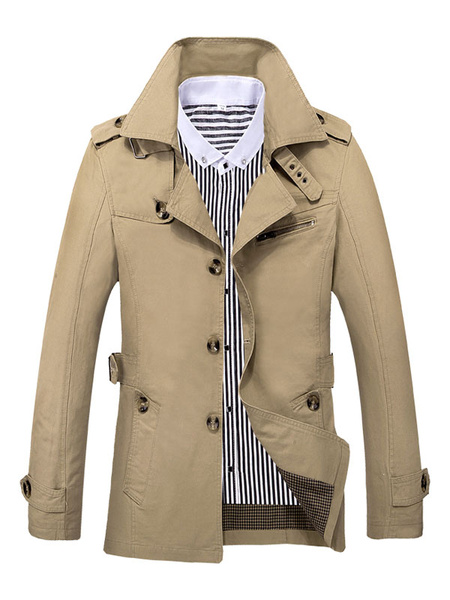 Men's Trench Coat Black/Khaki/Green Belted Jacket фото