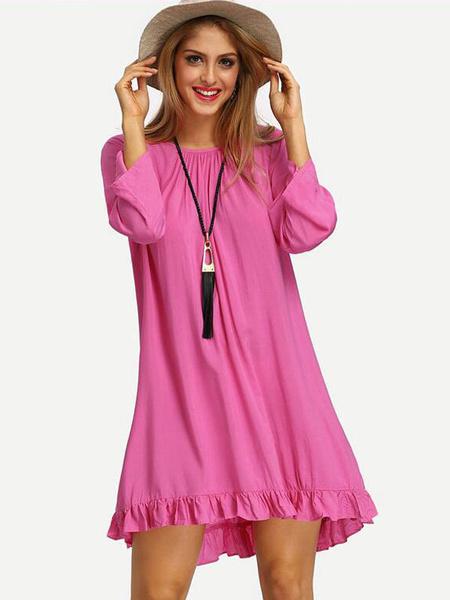 Ruffles Summer Dress Back Fringe Details Mini Shift Dress