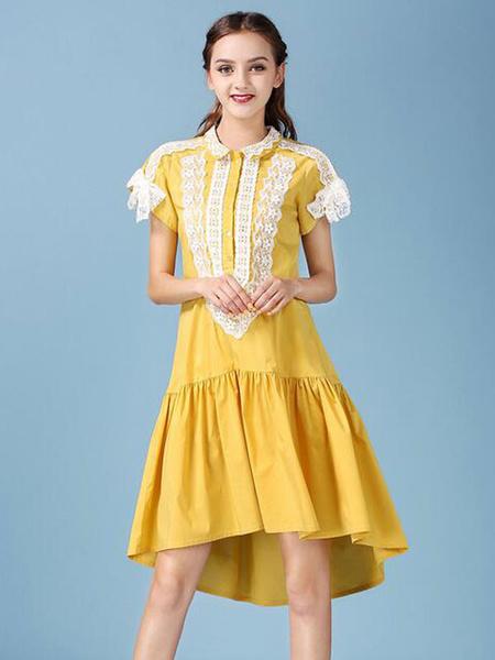 Women's Shift Dress Yellow Asymmetrical Polyester Short Sleeves Casual Summer Dress