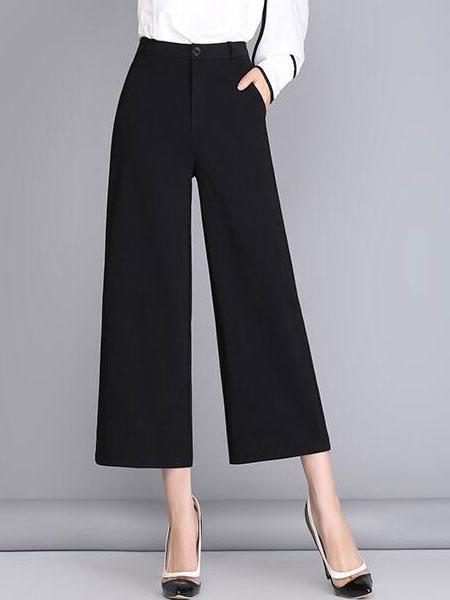 Black Wide Leg Cropped Pants Trousers For Women фото