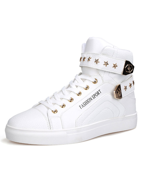 Platform Skate Shoes Men's Lace Up Round Toe Buckle Sneakers With Metal Details фото