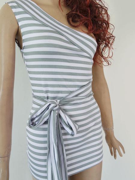 White Striped Mini Bodycon Dress One Shoulder Wrap