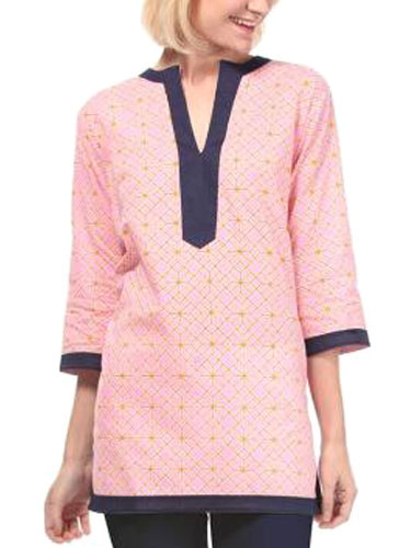 Oversized Half Sleeves T Shirt For Women Pink Blouse With Notch V Neck фото