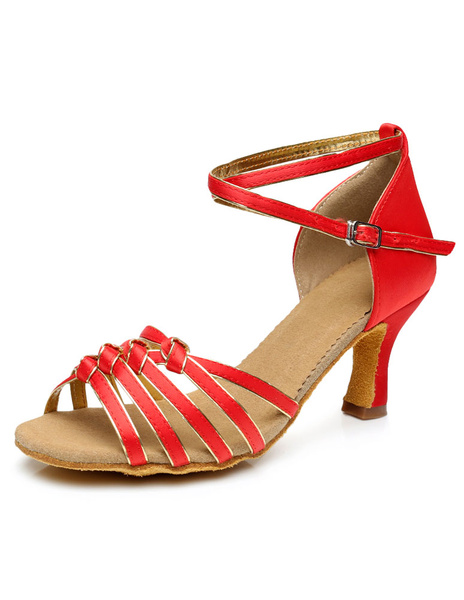 Red Dance Shoes Women's High Heel Ankle Strap Buckle Ballrooms