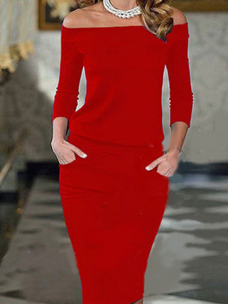 Off The Shoulder Long Sleeve Fall Bodycon Dress With Pockets фото