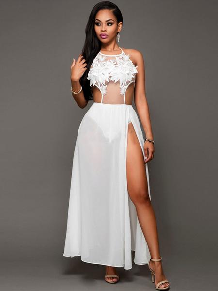 Club en mousseline de soie robe dentelle brodée sangle femmes Split robe Sexy blanche