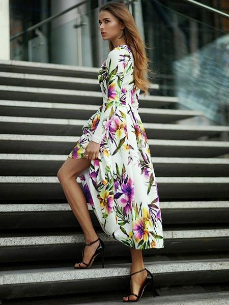 Long Sleeve Floral Dress Women's High Low Dress