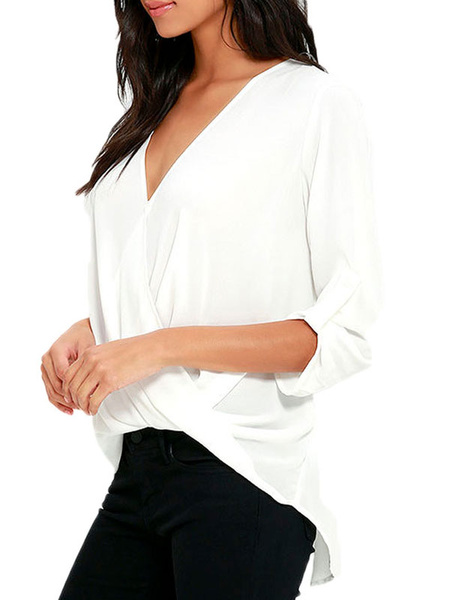 White V Neck Ruffle Loose Fit Wrap Blouse Top фото