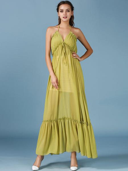 Spaghetti Straps Chiffon Slip Dress Womens Pleated Summer Long Dress фото