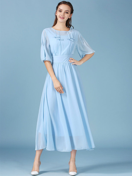 Blue Maxi Dress Chiffon Bow Half-Sleeve Long Dress For Women фото