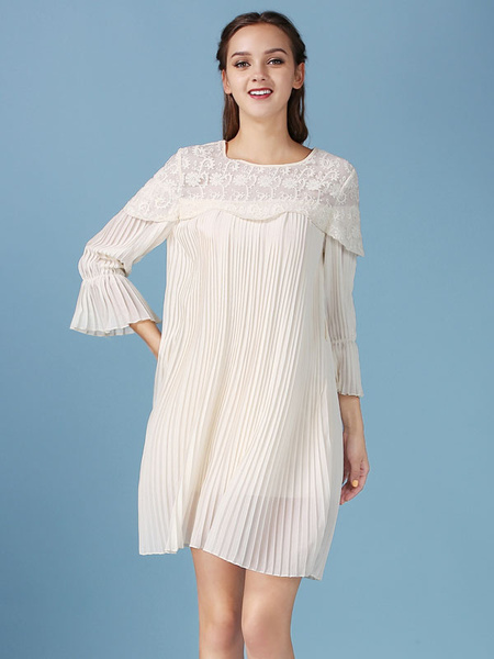 Lace Chiffon Dresses Women's Half-Sleeve Pleated Tunic Dresses фото