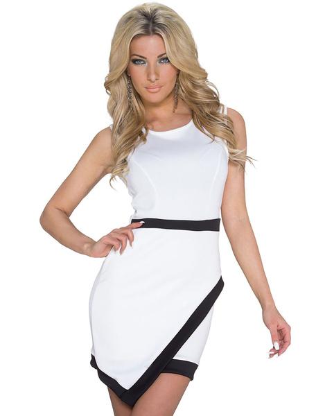 Black And White Contrast Sleeveless Asymmetrical Short Dress фото