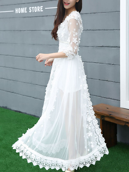 White Dress Half Sleeve Split Lace Maxi Dress фото