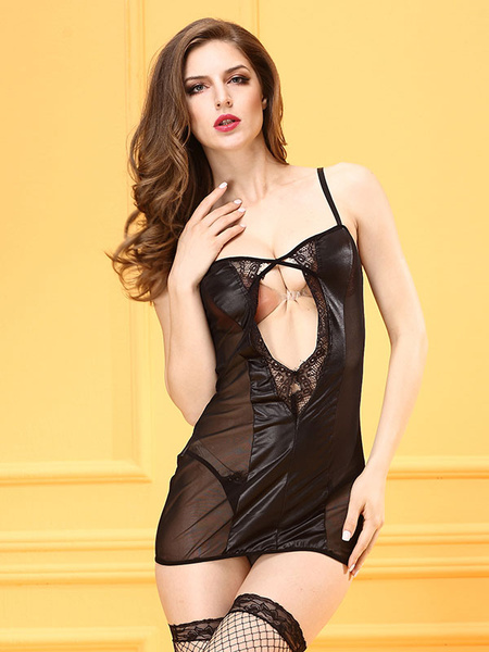 Black Slip Nightdress Lace Sheer Cut Out Sexy Chemise