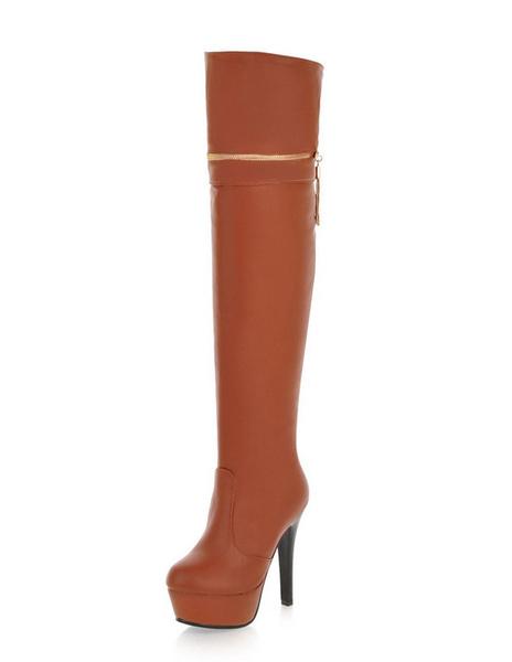 Long Leather Boots Women's Platform Zipper Round Toe Boot High Heels (12cm) фото