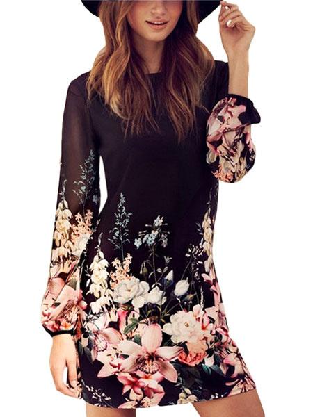 Women's Shift Dresses Long Sleeve Floral Print Back Zipper Short Chiffon Dresses фото