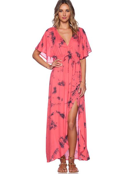 Boho Maxi Dress Women's Split Chiffon V-neck Batwing Half Sleeve Floor Length Dress фото