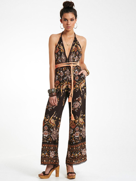 Women's Bohemian Jumpsuit In Brown With Halter V-neck Backless Tassel Printed Wide Leg