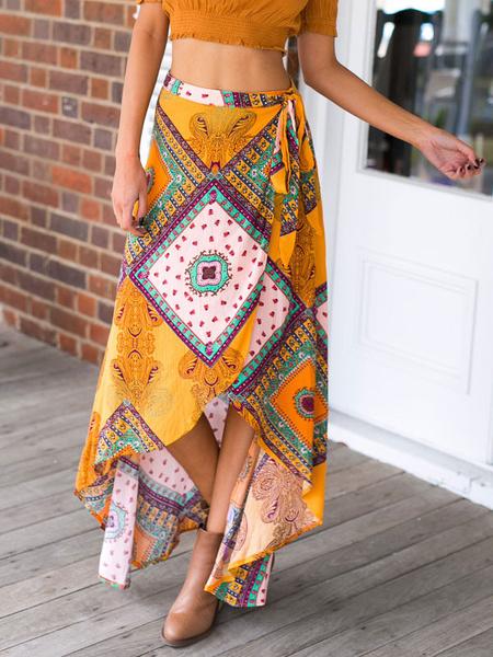 Tribal Print Tie Waist Split Maxi Skirt фото