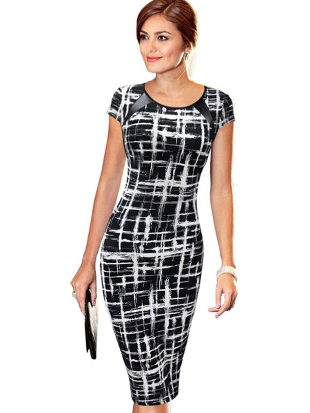 Round Neck Cap Sleeve Printed Pencil Dress фото