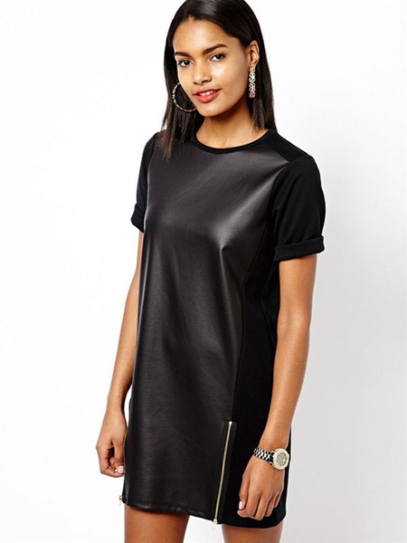 Black Club Dresses Women's Short Sleeve PU Leather Shift Dresses фото