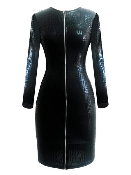 Black Club Dress Women's PU Leather Zippers Sheath Dress фото