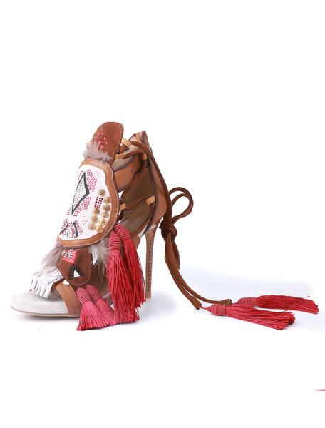 Boho High Heel Sandalen Frauen Quaste Reißverschluss Faux Leder Stiletto Heel Sandale Schuhe