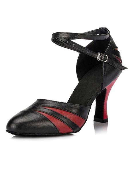 Ремень бальные танцевальная обувь Женские ботильоны острым носом высокие каблуки