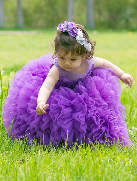 Lavanda Toddler vestito fiore ragazza Tutu vestito alla caviglia-lunghezza Ball Gown Principe corteo