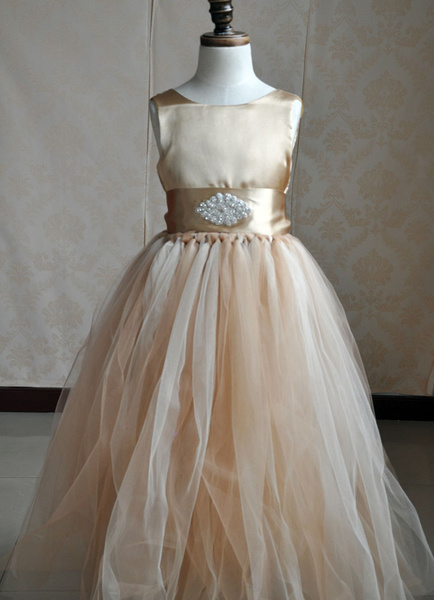Champagne Flower Girl Dress Ankle-length Toddler's Pageant Princess Dress Long Tutu Dress