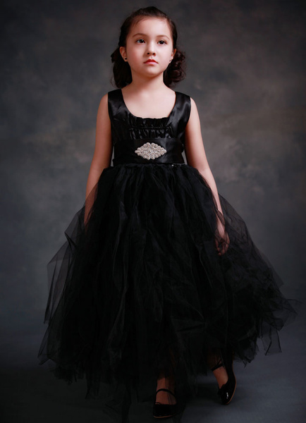 Black Flower Girl's Dress Ball Gown Princess Toddler's Pageant Long Tutu Dress