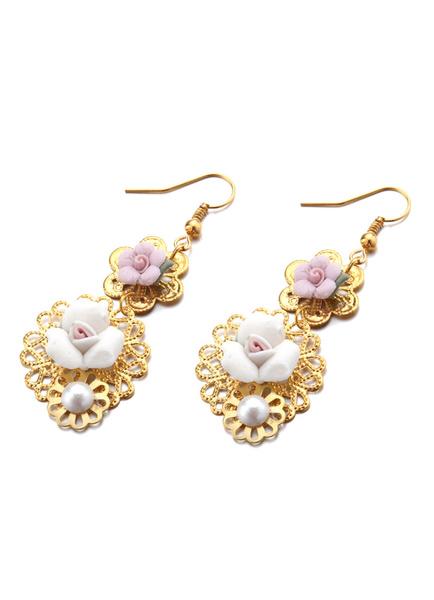 Gold Wedding Earring Pearl Studded Bridal Rose Wedding Jewelry( 9 Cm X 4 Cm X 1 Cm ) Milanoo фото