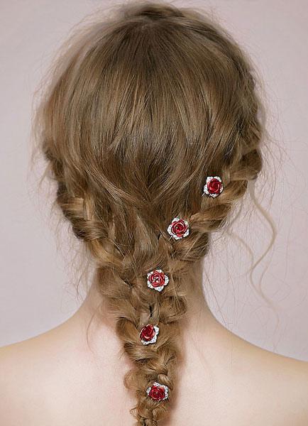 Image of Diadema di strass nuziale copricapo rosso rosa capelli Pin (7;6 X 2;5 Cm)